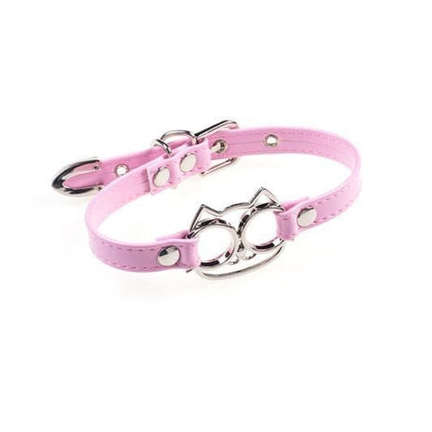 Pink/White/Black Cat Face Bowknot Collar Choker SP1811734