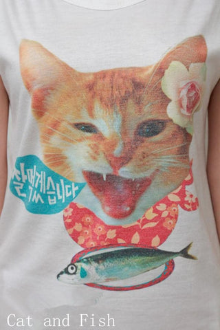 Cat Kitten Short Sleeve T-Shirt Top SP140846 - SpreePicky  - 3