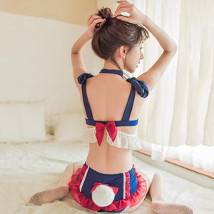 [Cheaper] Navy Sweet Falbala Bow Tail Lingerie Set SP14230
