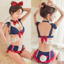 Load image into Gallery viewer, [Cheaper] Navy Sweet Falbala Bow Tail Lingerie Set SP14230