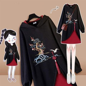 Retro Cute Print Hooded High-necked Sweatshirt Dress SP15677
