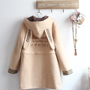 Chocolate Bunny Ears Woolen Hoodie Coat SP14420