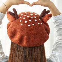 Load image into Gallery viewer, Christmas Antlers Woolen Beret SP13223