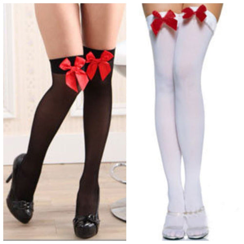 Cosplay Black/White Stockings with Red Bow SP141228