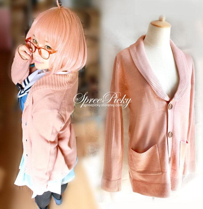 [境界の彼方]Cosplay Kuriyama Mirai Uniform Pink Cardigan Stretch Knitting Sweater SP140355 - SpreePicky  - 1