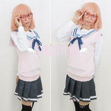 Load image into Gallery viewer, Cosplay Kyokai no Kanata Kuriyama Mirai Pink Knitting Vest Sweater SP141464 - SpreePicky  - 3
