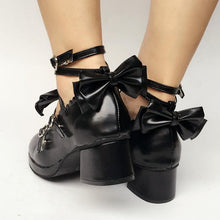 Load image into Gallery viewer, Custom Made Lolita Black Cute Bow Shoes SP168083