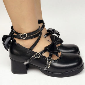 Custom Made Lolita Black Cute Bow Shoes SP168083