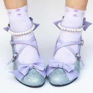 Custom Made Mermaid Blingbling Blue Bow Shoes SP168016