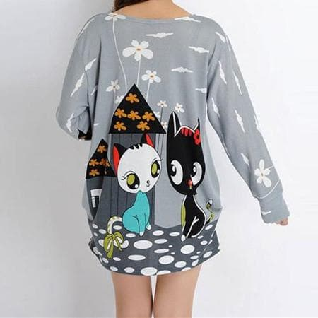 Cute Cartoon Black And White Cat Color Pattern  Loose  Sweater SP166959