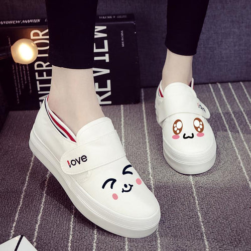 Kawaii Emoji Hand Painted Canvas Shoes SP1711242