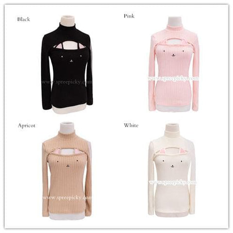 [4 Colors] Cute Sexy Neko Cat Ears Embroidery Open Chest High Collar Bottoming Sweater SP151641 - SpreePicky  - 14