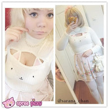 Load image into Gallery viewer, [4 Colors] Cute Sexy Neko Cat Ears Embroidery Open Chest High Collar Bottoming Sweater SP151641 - SpreePicky  - 13