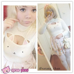 [4 Colors] Cute Sexy Neko Cat Ears Embroidery Open Chest High Collar Bottoming Sweater SP151641 - SpreePicky  - 13