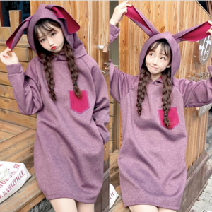 Kawaii Bunny Ear Midi Hoodie Jumper SP1710804