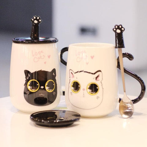 Black/White Kawaii Cat Ceramic Mug SP1710504