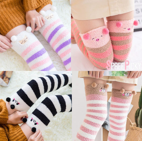 Cutie Animal Fleece Thigh High Long Socks SP154247