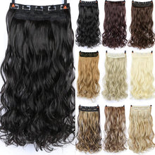 Load image into Gallery viewer, 24 inch Long curly Women Clip in Hair Extensions Black Brown High Tempreture Synthetic Hair Piece SS0238