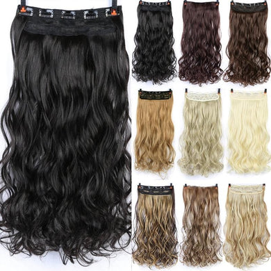 24 inch Long curly Women Clip in Hair Extensions Black Brown High Tempreture Synthetic Hair Piece SS0238