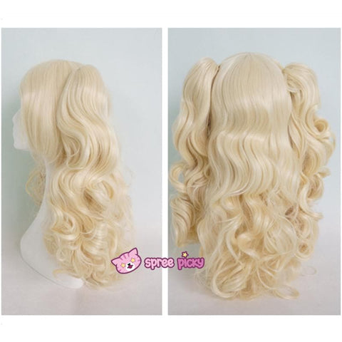 Lolita Harajuku Cosplay Light Gold Wig with 2 Pony Tails 3 Pieces Set SP130184 - SpreePicky  - 5
