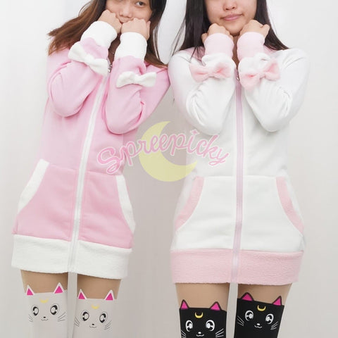 Pink/Black/White/Grey 4 Colours Thin Fleece Bunny Hoodie Long Coat Jacket  SP141287 - SpreePicky  - 6