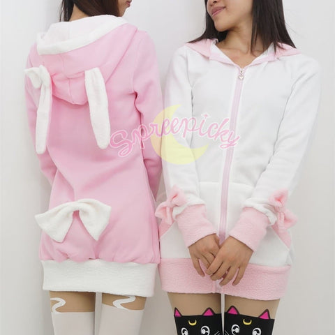 Pink/Black/White/Grey 4 Colours Thin Fleece Bunny Hoodie Long Coat Jacket  SP141287 - SpreePicky  - 5