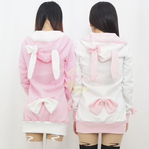 Pink/Black/White/Grey 4 Colours Thin Fleece Bunny Hoodie Long Coat Jacket  SP141287 - SpreePicky  - 7