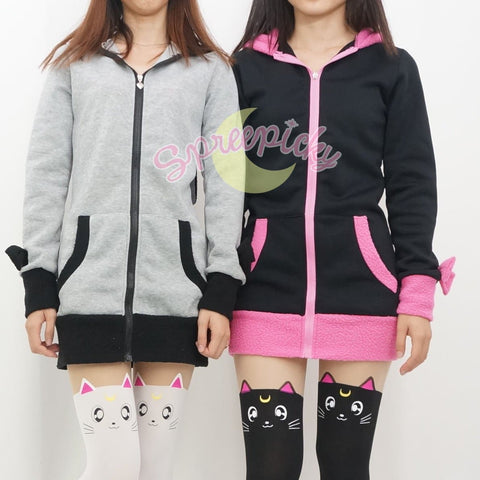 Pink/Black/White/Grey 4 Colours Thin Fleece Bunny Hoodie Long Coat Jacket  SP141287 - SpreePicky  - 8