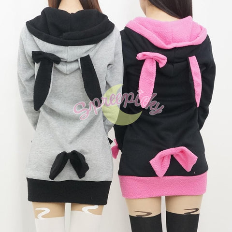 Pink/Black/White/Grey 4 Colours Thin Fleece Bunny Hoodie Long Coat Jacket  SP141287 - SpreePicky  - 9