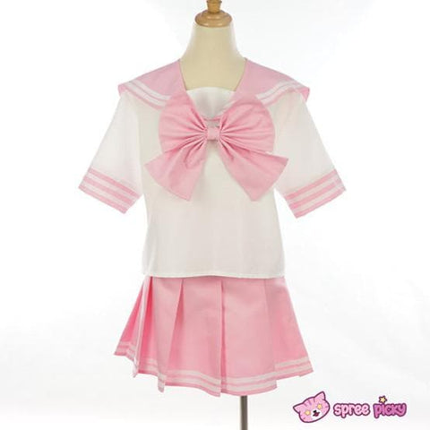 Daily Cosplay [Sailor Moon]Sailor Chibi Moon Chibi Usa Pink Seifuku Unfirom Top/Skirt/Bow - SpreePicky  - 3