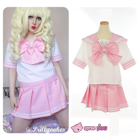 Daily Cosplay [Sailor Moon]Sailor Chibi Moon Chibi Usa Pink Seifuku Unfirom Top/Skirt/Bow - SpreePicky  - 1