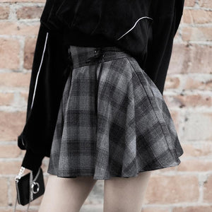 Dark Grey High Waist Plaid Cross Skirt S12878