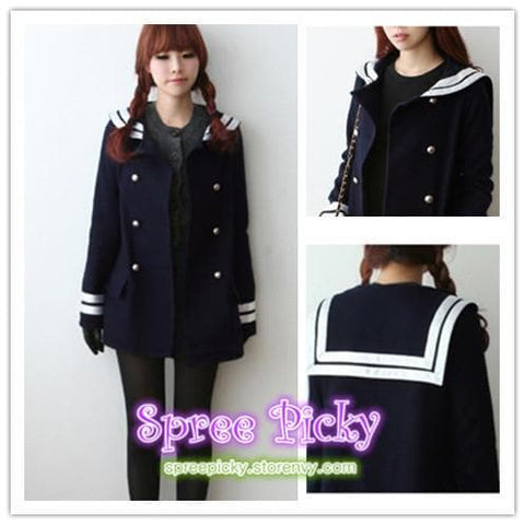 Korean Sailor High Quality Woolen Coat Double Brest SP130220 - SpreePicky  - 3