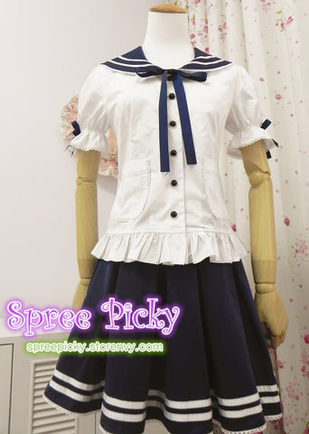 Lolita Sailor School Uniform Short shirt and Strap Skirt set 2 ways wearing SP130240 - SpreePicky  - 4