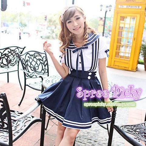 Lolita Sailor School Uniform Short shirt and Strap Skirt set 2 ways wearing SP130240 - SpreePicky  - 2