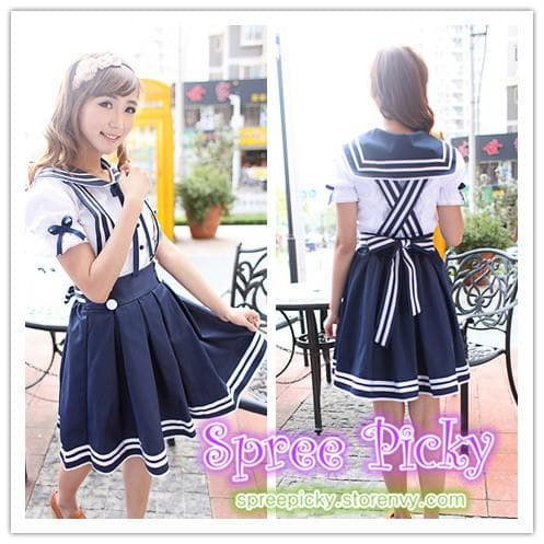 Lolita Sailor School Uniform Short shirt and Strap Skirt set 2 ways wearing SP130240 - SpreePicky  - 1