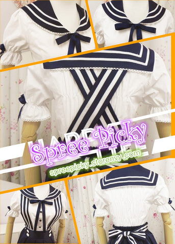 Lolita Sailor School Uniform Short shirt and Strap Skirt set 2 ways wearing SP130240 - SpreePicky  - 5