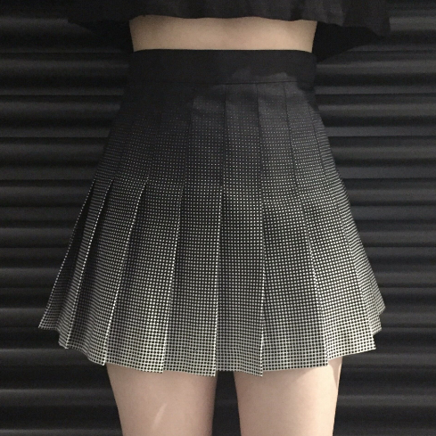Black Grey Gradient Pleated Skirt SP179171