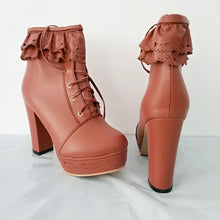 Load image into Gallery viewer, Elegant Falbala Thick Platform Heels Short Boots SP141458