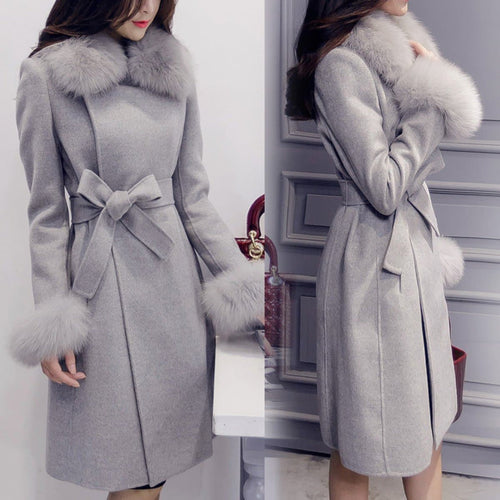 Elegant Fashion Collar Detachable Fur Collar Wool Blend Coat S13168