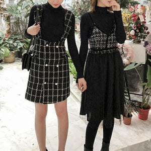 Elegant Grid Suspender Skirt/Tulle Dress SP13403