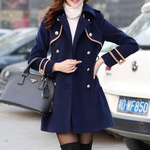 Elegant Sailor Midi Woolen Coat SP1710865