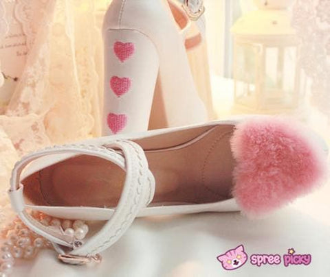 Lolita Hearts Embroidered White Heels with Sweet Pink Fur Platform Shoes SP151691 - SpreePicky  - 3