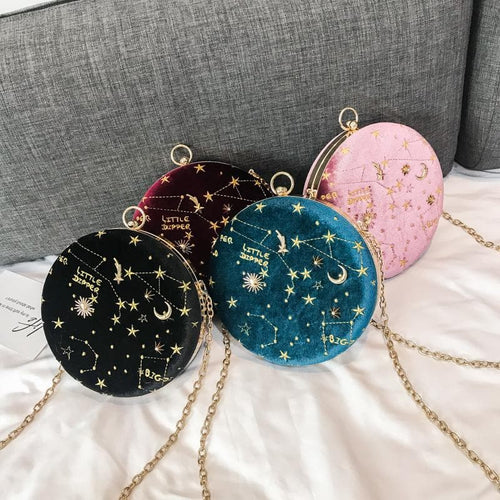 Embroidery Star Round Shape Crossbody Bag SP13819