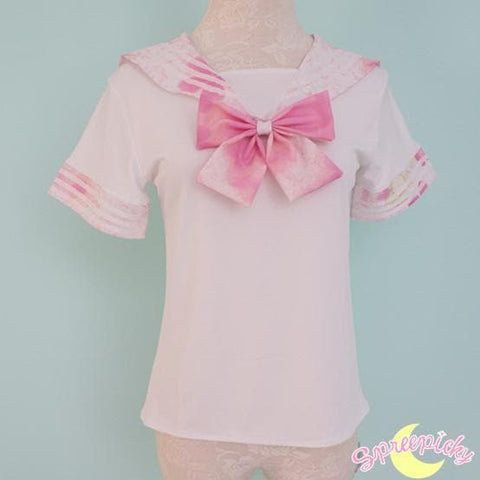 [S-XL]J-Fashion Pink Sakura Sailor Seifuku Top and Skirt Set SP151631 - SpreePicky  - 7
