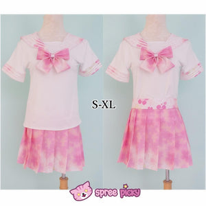 [S-XL]J-Fashion Pink Sakura Sailor Seifuku Top and Skirt Set SP151631 - SpreePicky  - 1