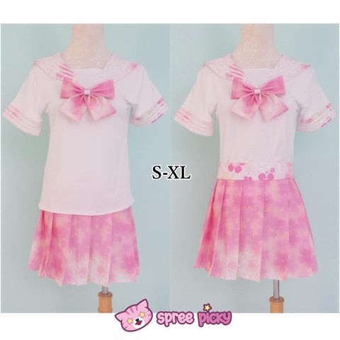 [S-XL]J-Fashion Pink Sakura Sailor Seifuku Top and Skirt Set SP151631