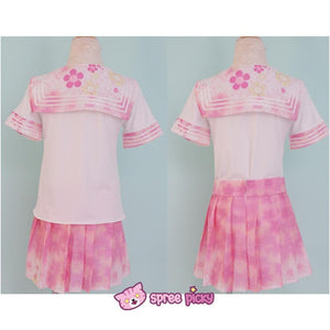 [S-XL]J-Fashion Pink Sakura Sailor Seifuku Top and Skirt Set SP151631 - SpreePicky  - 2