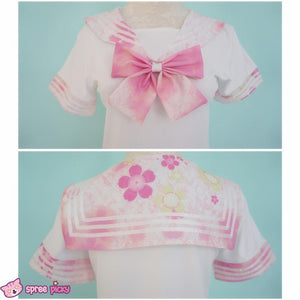 [S-XL]J-Fashion Pink Sakura Sailor Seifuku Top and Skirt Set SP151631 - SpreePicky  - 6