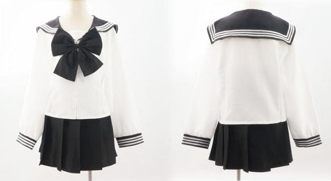 Custom Made Japanese Long Sleeve Sailor Seifuku Uniform Set SP152721 - SpreePicky  - 2